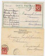 2 X CP 1909 BUREAU FRANCAIS DE CONSTANTINOPLE GALATA - Cartas