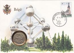 2 Scans Enveloppe 2139 Numisletter Pièce 10 Francs Belges Atonium België - Numisletters