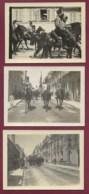 160420A - 3 PHOTOS GUERRE Militaria - Troupe Cavalier Dragon Chasseur à Cheval Défilé Commerce Dock Du Centre - Guerra, Militares