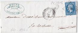 FRANCE :  PC 1305 Fontenay Le Comte (79) Sur LaC De 1860 Pour La Rochelle - Marcophilie (Lettres)