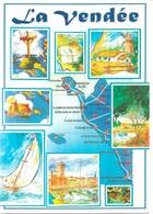 CARTES GÉOGRAPHIQUES - 85 LA VENDÉE - 8 PETITES VUES + LA CARTE - CPM - VIERGE - - Maps