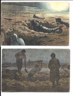 GUERRE 14/18 - 2 CARTES De POILUS - Les TRANCHÉES  - GABARD Illustrateur - Guerre 1914-18