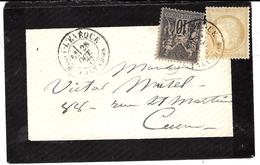 1877-petite Env. De Deuil  Affr. Mixte  N° 59  + N° 89  Sage 10 C   De PONT-LEVEQUE ( Calvados ) - Marcophilie (Lettres)