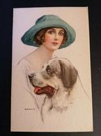Illustrateur Bianchi. Femme Avec Un Chien. - Illustrators & Photographers