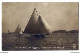 Kiel. Rennyacht Myggon U. 52. Kreuzer Yacht Move III - 1907. - Voiliers