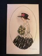 Illustrateur. Italien. Femme Avec Un Bouquet. Non Voyagée. - Illustrators & Photographers