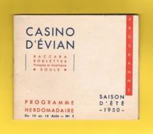 D74 EVIAN.  PROGRAMME CASINO D'EVIAN. 1950. - Programmes