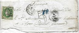 Agreda (Soria) A Francia 1862, Carta Con Diferentes Marcas Edifil 62. Ver 2 Scan - 1850-68 Königreich: Isabella II.