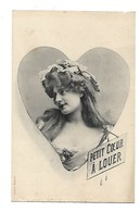 """FEMMES - FRAU - LADY - Jolie Carte Fantaisie Portrait Femme """"Petit Coeur à Louer """" - Edit. BERGERET - Bergeret"""