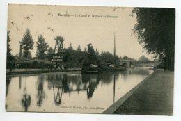 51 REIMS Canal Péniche Au Chargement De Minerai Ets G Rohart Mines De Bethune  Pont De Soissons  1911 Timbrée  D07 2020 - Reims