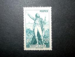 FRANCE 1936 N°314 (*) (ROUGET DE LISLE. STATUE À LONS-LE-SAUNIER. 20C VERT) - Unused Stamps