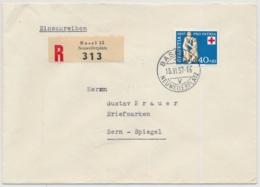 1957 Pro Patria Höchstwert Auf R-Brief Gelaufen BASEL NEUWILERPLATZ Nach SPIEGEL Bei BERN - Cartas