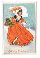 Femme Sous La Neige, Houx, Parapluie Gelukkig Nieuwjaar Bonne Année Ed Belgium  CPSM  Pas écrite - 1900-1949