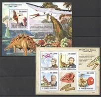 G194 2009 S.TOME E PRINCIPE FAUNA REPTILES DINOSAURS DARWIN WALLACE BL+KB MNH - Preistorici