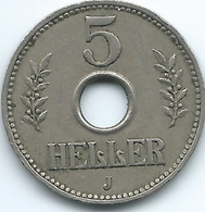 German East Africa - 1914 J - Wilhelm II - 5 Heller - KM13 - Afrique De L'Allemagne De L'Est