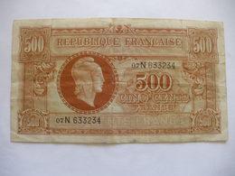 TRESOR BILLET 500 F MARIANNE LETTRE N RARE VF 11/3 - Treasury