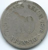 Germany - Wilhelm II - 1876 A - 10 Pfennig - KM4 - [ 2] 1871-1918: Deutsches Kaiserreich