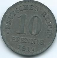Germany - Wilhelm II - 1917 - 10 Pfennig - KM26 - Zinc Coin - [ 2] 1871-1918: Deutsches Kaiserreich