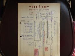 FACTURE ETS FILEJO - FABRIQUE DE JOUETS - BAGNOLET  - 22 OCTOBRE 1952 - 1950 - ...
