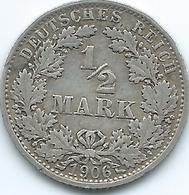 Germany - Wilhelm II - 1906 A -½ Mark - KM17 - [ 2] 1871-1918 : Duitse Rijk