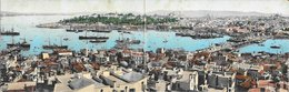 Turquie Constantinople (Istanbul) - Vue De La Rade & Bosphore CPA Double Colorisé Port Bateau 1907 BE - Turquie