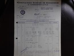 FACTURE O. CASSONNET & FILS - BONNETERIE - DUN SUR AURON - CHER - 23 JUIN 1964 - 1950 - ...