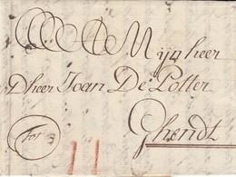 Brugge 29 Mei 1781 (met Volledige Tekst) Port 2 Stuivers In Rood Krijt - 1714-1794 (Pays-Bas Autrichiens)