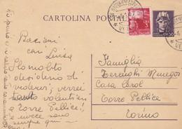 ITALIA - S. GIOVANNI LUPATOTO (VR) - INTERO POSTALE - C.50 CON F.LLI AGGIUNTA - VIAGGIATO PER TORRE PELLICE (TO) - Entiers Postaux