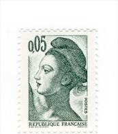 Liberté 0fr05 Vert Noir YT 2178 En GOMME MATE . Pas Courant , Voir Le Scan . Cote Maury N° 2183a : 4 € . - Varietà: 1980-89 Nuovi