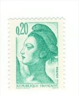 Liberté 0.20fr Vert YT 2181 Avec GOMME MATE . Pas Courant , Voir Le Scan . Cote Maury N° 2186c : 2 € . - Varietà: 1980-89 Nuovi