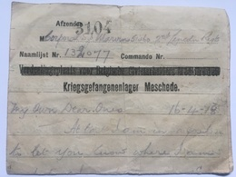 Austria WW1 Letter From Kriegsgefangenenlager Meschede - Historical Documents