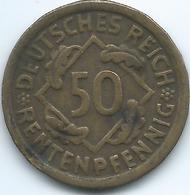 Germany - Weimar - 50 Renten Pfennig - 1924 D - KM34 - [ 3] 1918-1933: Weimarrepubliek