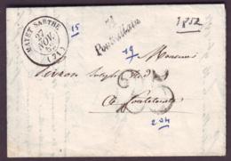 SARTHE - LAC - Cursive 71 Pontvallain + Tàd T15 Mayet Sarthe + Taxe DT 25 Pour Le Mans (71) - 1849-1876: Periodo Classico