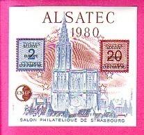 BLOC CNEP N° 1  SALON PHILATELIQUE DE STRASBOURG ALSATEC 1980 CATHEDRALE - Cnep 01 - CNEP