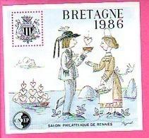 BLOC CNEP N° 7  SALON PHILATELIQUE DE RENNES BRETAGNE 1986 COSTUMES BRETON COEURS Cnep07 - CNEP