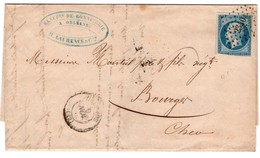 ORLEANS ( Loiret) Pour BOURGES (Cher) - PC 2340 - YT 14A Type 1 - 20c Emp.Franç ND - Datée 9 Novembre 1855 - 1849-1876: Période Classique