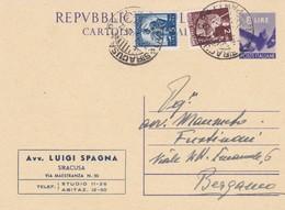 ITALIA - SIRACUSA - INTERO POSTALE - LIRE. 8 CON F.LLI AGGIUNTA - VIAGGIATO PER BERGAMO - Entiers Postaux
