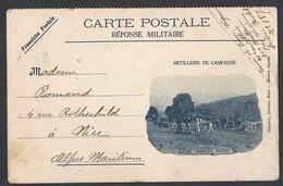 Guerre De 14-18 Carte Postale Franchise Militaire Illustration Artillerie De Campagne Avec Correspondance - Guerre De 1914-18