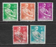 République Française - Série Type Moissonneuse - Lot De 5 Timbres Oblitérés, Dont 2 Préoblitérés - 1957-59 Moissonneuse