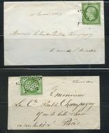 2 Enveloppes 1853-60 Emission Empire Napoléon III Non Dentelé 5c Vert Jaune Yvert 12a. - 1849-1876: Période Classique