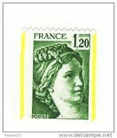 Sabine 1fr20 Vert De Roulette YT 2103 Avec Deux Bandes De Phosphore ( Demi Bandes ) Par Décalage . Superbe, Voir Le Scan - Variétés Et Curiosités