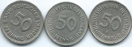 Germany - Federal - 50 Pfennig - 1949 J (KM104) 1950 G - Reeded Edge (KM109.1) & 1980 F - Smooth Edge (KM109.2) - [ 7] 1949-… : FRG - Fed. Rep. Germany