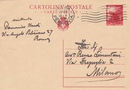 ITALIA - ROMA - INTERO POSTALE - L. 3  - VIAGGIATO PER MILANO - 5. 1944-46 Luogotenenza & Umberto II