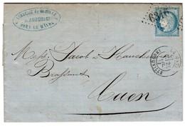 Le HAVRE INGOUVILLE (Seine Marit.) Pour CAEN (Calvados) - GC 6310 (recherché) - YT 60A CERES - Datée 28 Juillet 1873 - Marcophilie (Lettres)