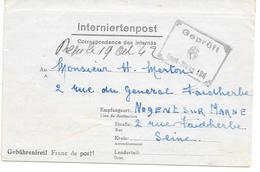 Pli Camp D'internement De  VITTEL Pour NOGENT S/MARNE - FRONSTALAG 194 N° 6 Peu Courant - Guerra Del 1939-45