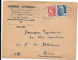 Enveloppe Publicitaire SAINTONGE AUTOMOBILE à ROCHEFORT Sur MER 1947 - Pour BANQUE POPULAIRE à NICE       (E72 - Storia Postale