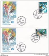 L4S030 NATIONS UNIES 1988 Wien FDC Gesundheit Durch Sport S6 S8 12 06 01 1988/  2 Envel.  Illus. - FDC