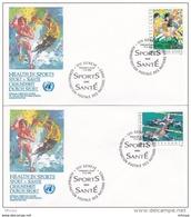 L4S032 NATIONS UNIES 1988  Geneve FDC Sport = Santé 0,50 1,40 FS 17 06  1988 / 2 Envel.  Illus. - FDC