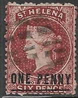 St Helena  1871  Sc#12  1p On 6p  Victoria  Long Bar  Wmk CC  Used  2016 Scott Value $21 - St. Helena