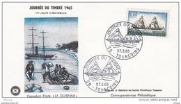 L4T006 France 1965 FDC Paquebot Poste La Guienne 0,25+0,10f Tourcoing 27 03 1965 /env. Illus. - Journée Du Timbre